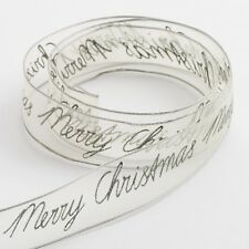 25MM ORGANZA RIBBON WITH PRINTED MERRY CHRISTMAS 10 METRE REEL - VARIOUS COLOURS