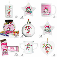 Personalised Hello Kitty Christmas Xmas Decorations Gifts Candles Sweets Baubles