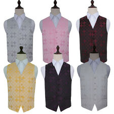 "Men's Diamond Wedding Groom Formal Evening Work Waistcoat - Size 36"" - 50"""
