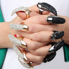 1Pc Fashion Lady Gothic Punk Rock Eagle Claw Crystal Finger Ring Nail Hook Ring