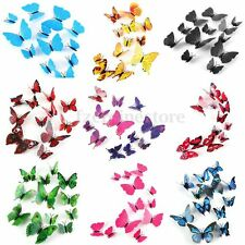 12pcs 3D Butterfly Magnet Wall Stickers Bedroom Home Refrigerator TV Decor Art