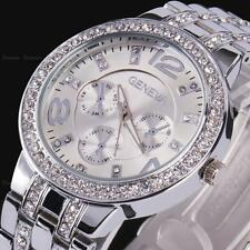 Luxury Geneva Women Lady Gold Dial Crystal Rhinestone Steel Quartz Wrist Watch