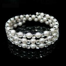 Faux Pearl Rhinestone Diamante Crystal Cuff Bracelet Bangle Bridal Wedding Party