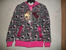 Girl's Embellished Pink & Black Zip-up Hello Kitty & Bows Hoodie Size 5