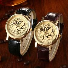 Classic Skeleton Mens Brown Leather Band Quartz Stainless Steel Gold Wrist Watch