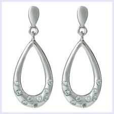 925 Sterling Silver Teardrop Loop Dangle CZ Crystal Chandelier Earring Stud Post