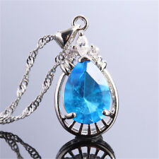 Fashion Jewelry Pear Cut Red Ruby Fine Clear Topaz  Pendant Necklace For Dress