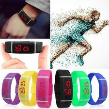 Popular Red LED Sports Running Watch Date Rubber Bracelet Digital Wrist Watches