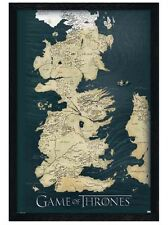 New Black Wooden Framed Game Of The Thrones Westeros' Seven Kingdoms Map Poster