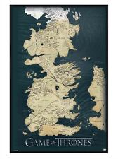 New Gloss Black Framed Game of Thrones The Seven Kingdoms of Westeros Map Poster