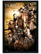 The Hobbit Black Wooden Framed Character Collage Poster 61x91.5cm