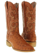 Mens Cognac Ostrich Quill Western Cowboy Leather Exotic Rodeo Boots