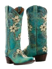 Womens Turquoise Beige Flower Embroidered Leather Cowboy Cowgirl Boot Distressed