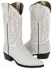 Mens off white crocodile alligator tail leather western cowboy boots rodeo new