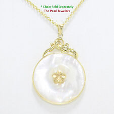 14k Yellow Gold Hawaiian Plumeria Flower 30mm Disc White Mother of Pearl Pendant