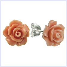 Simulated 10mm Pink Orange Coral Rose Earring with Sterling Siver Stud Post