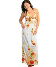 White Red Mandarin Floral Paisley Maxi Dress L XL XXL Silk Halter Empire Waist