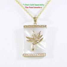 14k Solid Gold Bird of Paradise & Greek Key 22x30m White Mother of Pearl Pendant