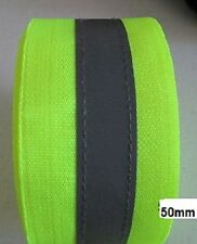Sew On Hi Visibility Yellow 50mm Tape with 15mm Silver Reflective Strip