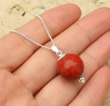 Bali Red Coral Bead 925 Silver Pendant Necklace Jewellery
