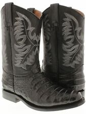 Men's Ranch Roper Black Crocodile Alligator Belly Western Cowboy Boots