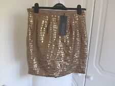 BNWT BELOVED @ DARLING GOLD FAUX LEATHER MINI SKIRT MANY SIZES RRP 49.00