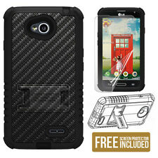 Beyond Cell [Tri Shield] For LG Optimus L70 Rugged Hybrid Skin Hard Case Stand