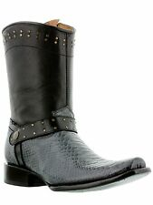 mens gray python snake rodeo exotic western cowboy boots zipper harness riding
