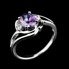 Jewellery Rings Amethyst Purple Zircon 10KT White Gold Filled Sz 6-10 Engagement