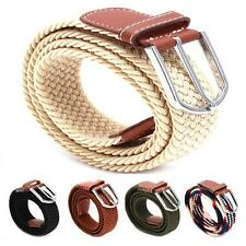 Chic Unisex Woven Stretch Elastic Braided Leather Buckle Belt Waistband Belts LA