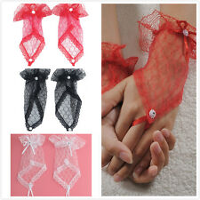 1 Pair Woman Nice Sexy Slim Fingerless Wedding Party Lace Short Bridal Gloves