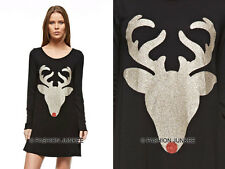 BLACK 32 RED NOSE REINDEER DEER DRESS Glitter Tunic Top Shirt Christmas S M L