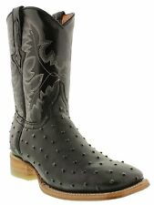 mens black ostrich exotic crocodile western leather cowboy boots rodeo tan sole