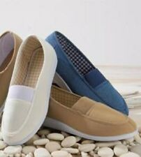 BNIB Ladies Navy Brown or White Casual Slip On Shoes CLIFFORD JAMES