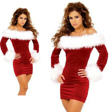 Womens Santa Claus Christmas Costume Cosplay Fur XMAS Outfit Fancy Dress Hot New