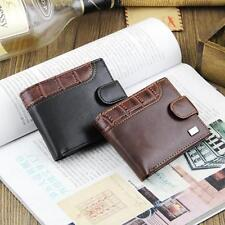 Men Bifold Wallet PU Leather ID Card Coin Holder Slim Buckle Pockets Purse  D12