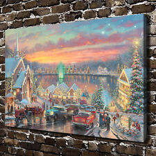 Thomas Kinkade - Winter's Dusk - Art Canvas HD Print Home Wall decor picture