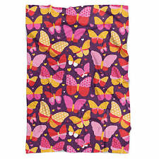 Hot Pink Butterflies Fleece Blanket - Soft Faux Fur Throw