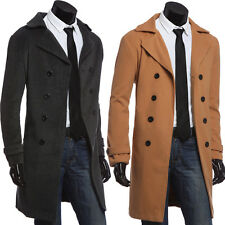 Trendy Mens Winter Wool Jacket Peacoat Long Trench Coat Double Breasted Overcoat