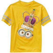 New Minions Boys Short Sleeve 100% Cotton Top Graphic Tee  Yellow 10/12 14/16 18