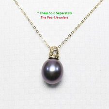 14k Solid Yellow Gold Dimpled Bail Diamonds & Eggplant Cultured Pearl Pendant