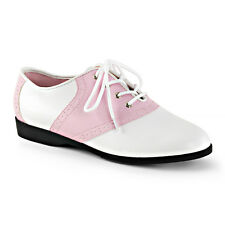 Funtasma Cute Pink/White Flat Retro Pink Ladies Laceup Retro Saddle Shoes 6-12