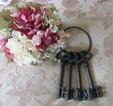 Old Style Shabby Rustic Metal Cast Iron Set Of Home Keys On Ring Rustic Brown