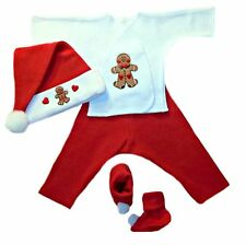 Gingerbread Boy Christmas Baby 4 Piece Clothing - 4 Preemie and Newborn Sizes