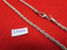 """18""""-30"""" 3 MM STAINLESS STEEL SILVER ROPE CHAIN SILVER NECKLACE- USA SELLER"""
