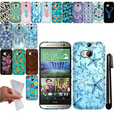 For HTC One 2 M8 TPU Gel SILICONE Rubber SKIN Soft Case Phone Cover + Pen