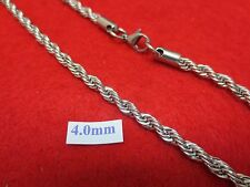 "18'-30""  4 MM STAINLESS STEEL SILVER ROPE CHAIN SILVER NECKLACE- USA SELLER"
