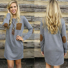 NEW Womens Fashion Casual Long Sleeve Pocket Round Neck Shirt Tops Blouse
