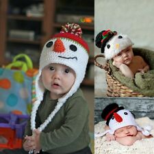Baby Xmas Boys Girls Snowman Beanie Crochet  Beanie Hat Knitted Photography Prop