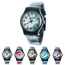 2015 School Girls Boy Watches Camouflage Silicone Sport Watch Quartz Wristwatch